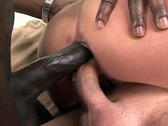 Linet looks like a refined lady that respects herself but nothing can be more wrong about that. Although she has the looks of a stylish lady, Linet is a filthy whore. Watch her naked and how the black guy stretches her ass hole with a dildo while she sucks a white cock. Then, they both double penetrated her butt!