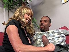 Shayla ran into this black guy backstage at a shoot and ended up gagging herself on his cock and getting a mouthful of cum.