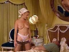 Trio of gorgeous retro babes please on juicy dick riding it in turn. Girls also lick each other's delicious cunts. Second scene features one sassy housemaid washing her master's cock with wet sponge.