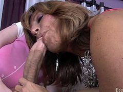 Mother joins the daughter in the dick sucking process.