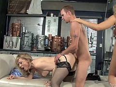 This nice fuck turned into hot threesome when this bitchy busty chick invited her horny kooky to participate a bit. Thses thirsting babes posed doggy style and got fucked hard by that dawg. Look at this hot FFM fuck in Fame Digital sex video!