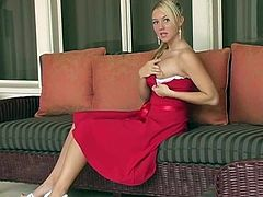 Smoldering hot Alison Angel pulls down the top of her beautiful formal gown and whips out her flawless, large, natural tits.