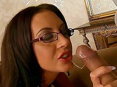 Emma Butt is appetizing brunette with tight shaved pussy and deep throat. She has superb sex with her horny neighbor who likes licking her kitty and stuffs it with his dick