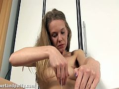 Lustful blonde Bony is having some nice time alone. She ruvs her shaved pussy passionately and then pounds it with a dildo.