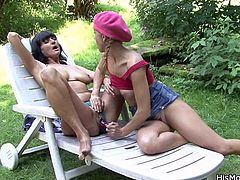 I gf has a pair of big, soft boobs, just how his mom likes them! we are outside with her and fuck like whores! Look at us going wild with that dildo and exploring each other until my BF caught us. Now that he saw what happened maybe he should punish us like fucking whores and fill me up with cum!