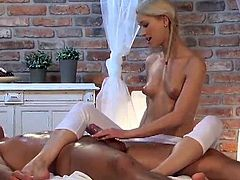 Delightful Blonde pussy Gives the Massage And has invaded