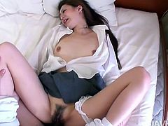She wraps her lips around his cock and he flicks her nipples. They are completely unshaved, he has extremely long pubes and she has an unruly bush. Their crotch hair meets, when he shoves his cock inside her cunt hole and bangs her like crazy. He uses a vibrator on her, for added pleasure.