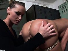Blonde Kathia Nobili with huge melons gets satisfaction with lesbian Bambi