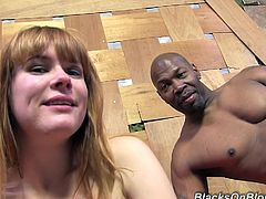 Claire starts her interracial shoot off by showing her camel toe and perky tits and she ends it by getting a sticky blast of cum in her mouth.