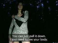Public Agent brings you a hell of a free porn video where you can see how a hot brunette strips and gets fucked in the forest while assuming some very interesting poses.
