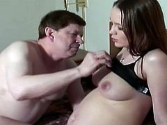 Horny daddy takes his filthy old cock inside nasty pregnant babe sweet pussy