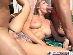 Lewd blonde Jane is having fun with two men. She gets her pussy and mouth fucked at the same time and then drinks jizz out of a glass.