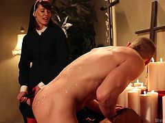He was a bad boy and sinned with his cock and lips but our beautiful nun Madeline will help him get forgiveness. She punishes the guy for his sins, gives him a taste of her pussy and then fucks his ass from behind while he prays god for what he did. Maybe his prays will he heard, by other sexy nuns!
