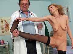 Check out full gyno exam with horny nude mature in action