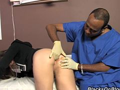 Sexy White girl gets her tight ass fingered by a tricky proctologist. She loves anal stimulation so much that asks the doctor to fuck her. In fact, Amber gets more than expects. Two Black dudes fuck her in both holes at the same time right in a hospital.
