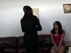 Hot as hell brunette MILF makes sure her naughty daughter knows how to suck cocks, both get undressed and give a guy blowjobs.