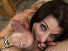 Raven haired mistress goes down on her cocky boy. Sizzling hot mommy desirably blows that thick cock like vacuum cleaner. She sucks balls and jerks off the shaft driving her fucker insane.