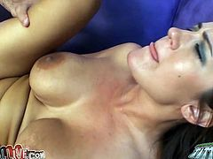 Well shaped busty brunette Trina Michaels gets sideways banged tough