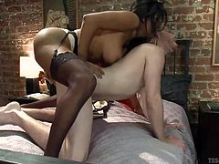 Meet Jessy, a busty tranny with a hard cock that loves white boys. Jessy begins by rubbing Sebastian's cock and then she fucks his mouth. Sebastian is so horny that he goes on top of this brunette hottie and rides her with his ass, bareback! He enjoys every inch of hard cock that goes in his butt!