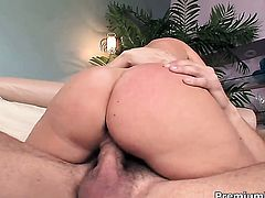Devon Lee with big knockers gets her mouth fucked literally to death by hot man