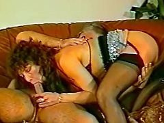Sweet redhead mom is giving a deep blowjob
