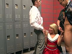 Check out this hardcore scene where the slutty blonde Casey Cumz is gangbanged in a locker room as she ends up with her face covered by cum.
