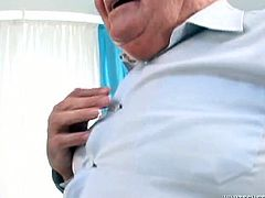 Barely breathing old fat buddy still able to fuck pretty babes. Chubby black haired honey sensually sucks his small dick and rides it in reverse cowgirl pose.