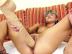 Doris Ivy is a young naughty girl with natural tits and great desire to fuck. She takes her big toys and stuffs her tight pussy with them. She gets unforgettable feelings!
