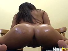 Bubble Butt Bonanza brings you a hell of a free porn video where you can see how the naughty brunette Marquetta Jewel sucks cock and gets dildoed by another horny stud.