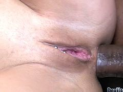 Slutty brunette whore with nice boopies and ass gets her clit and butthole drilled hard. Watch at this gangbang in steamy Fame Digital sex video.