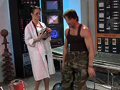 Female scientist have a wild sex with a military guy