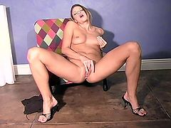 Amazing blonde chick Monica Sweetheart strips and demonstrates her natural tits. Then she moves her legs wide apart and fingers her smooth coochie till she gets an orgasm/