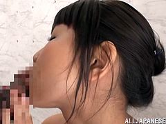 She's cute and loves to slurp cock. Meet miss Koharu, a girl that dishonors her family and shows, how much she loves fucking front of the camera! This bitch is shameless and she kisses and jerks the guy, before going down on her knees, like a good Asian girl and sucks cock. Damn, look at her slurping that dick!
