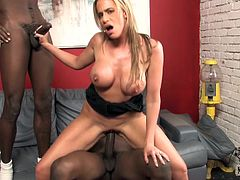 Cute slim blonde cougar Kylie Worthy is having fun with two black men indoors. She shows her cock-sucking talents to the dudes and then gets her pussy pounded from behind.