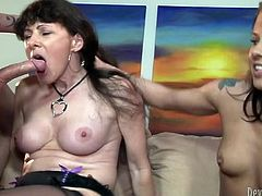 Two kinky and seductive sluts serve one guy in hot FFM threesome, as one of them wildly rides his cock, the other one watches and masturbates.