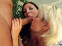 Horny and slutty whore with dark hair puts the sex toy in the butthole of sexy blondie and then they suck the dick. Later brunette gets fucked in doggystyle. Have a look in steamy Perfect Gonzo xxx clip.