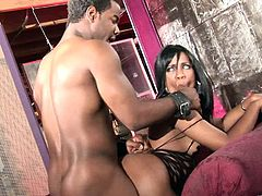 Make sure you get a load of this hardcore scene where the sexy ebony babe Sydnee Capri sucks and fucks a big black cock that leaves her with a mouthful of cum.