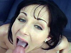 Dirty brunette gives deep blowjob before having her cramped vag ravaged in POV