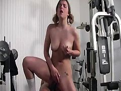 Sizzling babe with pigtails has an interracial sex with her fitness instructor. The girl licks balls and sucks a big black cock. After that this Katie Thomas gets fucked deep in her pink pussy.