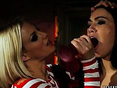 Blonde Katy Parker with juicy jugs cant keep her fingers off Tiffany Dolls fuck hole
