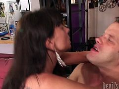 Slutty dark haired old whore with the hairy clit rides a cock hanging the guys shoulders and gets poked on the floor. Watch in Fame digital xxx video.