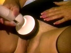 Sexy and filthy bitch with nice body and dark hair tickles her clit with sex toy and sucks the cock. Have a look in steamy The Classic Porn sex clip.