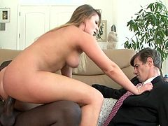 Hubby watches her banging a black snake