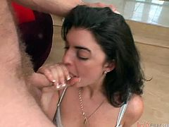 Make sure you have a look at this hot scene where the slutty brunette Lara Ann sucks on this guy's hard cock until he cums in her mouth.