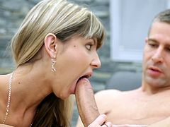 After blowing it well, blonde Gina Gerson began to feel it in her cunt