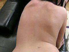 Voracious brunette tootsie with magnificent melons posed doggy style on floor. Her back view can make any thirsting guy crazy. This hottie was rewarded by passionate invasion from behind. Watch this bodacious Sweetie in Fame Digital sex video!