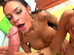 These two girls deliver unforgettable blowjob and bring the guy to spectacular orgasm and he blasts their pretty faces with his cum. The chicks swallow it and smile.