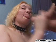 Kinky blonde mom is playing dirty games with two men indoors. She sucks and rubs their boners ardently and then gets her butt pounded doggy style and in other positions.