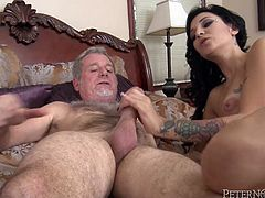 Watch this hardcore scene where the naughty brunette babe Aimee Black takes a pounding from an old man with a very large cock.