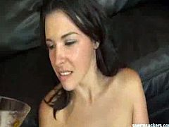 Sperm Suckers brings you a hell of a free porn video where you can see how the vicious brunette Danica Dillon sucks a hard cock while assuming very hot poses.